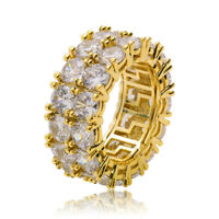 Hip Hop Rings Brass with 18K Gold Silver Plated Iced Out AAA CZ Ring Jewelry