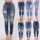 2018 Women Denim Skinny Pants High Waist Hole Stretch Jeans Slim Pencil Trousers