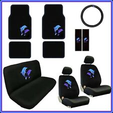 Blue Dolphins 15pc Car Seat Covers Pair Low Back Bench Floor Mats Black CS