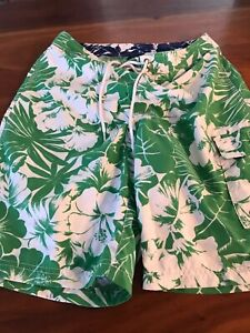New Tommy Hilfiger swim shorts green hibiscus print XS