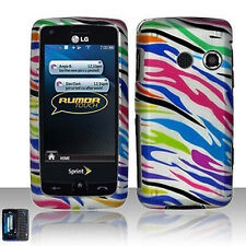 For LG Banter Touch UN510 Rumor Touch LN510 Hard Case Cover Silver Rainbow Zebra