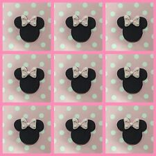 12 x Edible Minnie Mouse ears bows pink Polka cake Cupcake Toppers decoration