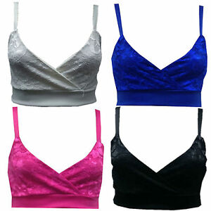 Womens Ladies Wrap Over Lace Cropped Fitted Strape Sexy Crop Bra Vest Top Bralet