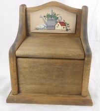 Vintage Wood Recipe Index Card Box w/ Flowers, Bird House, Watering Can