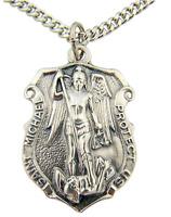 """Patron Saint Michael Medal 1 1/4"""" Badge Shape Silver Tone w/24"""" Chain Necklace"""