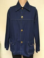 VTG 70s JOHN WEITZ CANVAS JACKET Navy Blue BRASS CLASP BUTTONS Big Collar XL