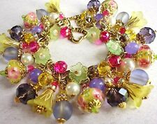 Mothers Garden Charms Bracelet Glass Floral Lampwork Crystal w M Haskell Chain