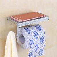 Chrome Bathroom Toilet Paper Holder Wall Mounted Lavatory Tissue Roll Shelf Rack