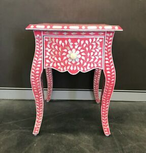 Mother of Pearl Bedside Pink /Bone Inlay Night Stand Pink color /Side Cabinet