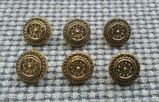 6 x Gold Tone Metal Look Buttons 14mm Vintage Gothic Steampunk Style