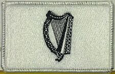 IRISH Flag Patch With VELCRO® Brand Fastener Black & White. White Border #1