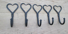 5 X WROUGHT IRON HAND FORGED SHABBY CHIC COAT HOOK HANGING UTILITY HANGER