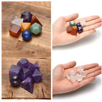 Chakra Gemstone Healing Reiki Crystal Amethyst Platonic Sacred Solids Decor Set