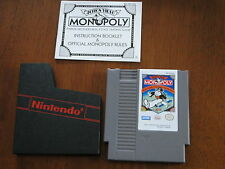 Nintendo NES Monopoly Game Dust Sleeve and Instructions Manual Vintage