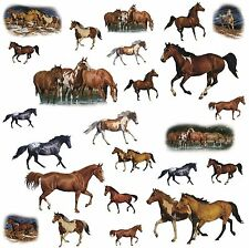 24 WILD HORSES WALL STICKERS WESTERN Room Decor RANCH Decals FARM Decorations