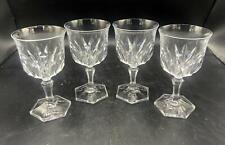 """Set of 4 Beautiful 6"""" Clear Glass Diamond Pattern Wine Glasses"""