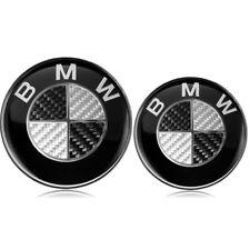 BMW Emblem 82mm + 74mm Logo Vorne Hinten Motorhaube Heckklappe Kofferraum Carbon