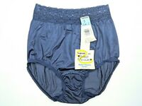 Vtg NWT Warner's Perfect Measure Nylon Brief Panties Blue Wide Lace Waist Sz 6