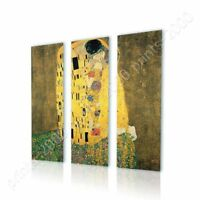 The Kiss by Gustav Klimt   Ready to hang canvas   3 Panels Wall art giclee HD