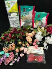 Mixed Lot of Floral Crafts ~ Flower Picks Stem Wrap Greening Pins Pink Stamens +