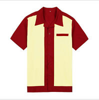 Mens Rockabilly Bowling Shirts Red&Cream 50s 60s Style New Design Cotton Top