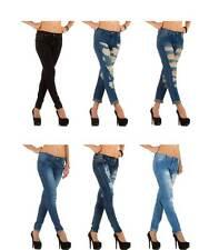 Markenlose Damen-Jeans aus Denim mit niedriger Bundhöhe
