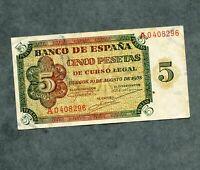 BILLETE 5 PESETAS 1938 EBC A 0408296CON TODO SU APRESTO