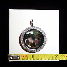 DINO: WOW! Pink and Green TOURMALINE Pendant, Stainless Steel- 11 gr. Reversible