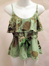 Plenty by Tracy Reese 8 Top Green Floral Silk Tank Ruffle Neck Adjustable Straps