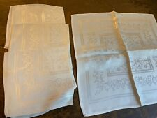 "1940's Napkins- 4 pc-White w/Scroll/Flower Pattern- 15""x15""-Linen/R ayon-Vg- Sale"