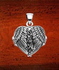 Sterling Silver Angel Wings Locket Pendant w/Bail - LK13B