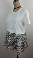 Jil Sander Womens Top Medium Panelled Flared White Blue Cotton Short Sleeve New