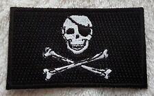 PIRATE FLAG PATCH Embroidered Badge 3.8 x 6cm Jolly Rodger Skull and Crossbones