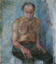 Russian Ukrainian Soviet Oil Painting portrait man nude figure Postimpressionism