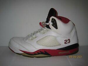Air Jordan 5 V Retro White/Fire Red Black Tongue 126027 120 Mens Shoes  Size 13