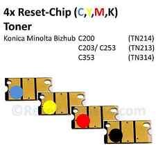 4x Reset Chip Toner (C,Y,M,K) für Konica Minolta Bizhub C200 C203 C253 C353