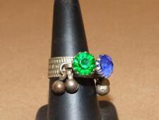 VTG Ethnic Tribal Kuchi Belly Dance Ring Brass Raised Blue & Green Glass sz 7.5