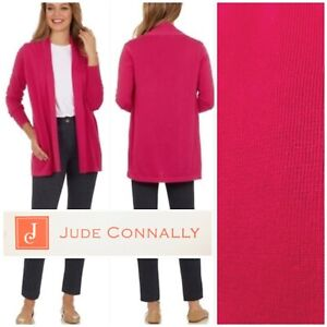 NWT $168 Jude Connally Jane Cardigan L/S OPen Front Pima Cotton XL in Berry