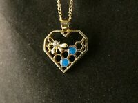 Herz Biene Anhänger 24 Karat Vergoldet Strass Blau Halskette Love Imme Wabe