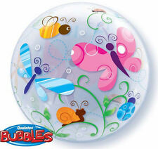 """BUTTERFLY BALLOON 22"""" COLOURFUL BUGS & INSECTS SEE THRU QUALATEX BUBBLE BALLOON"""