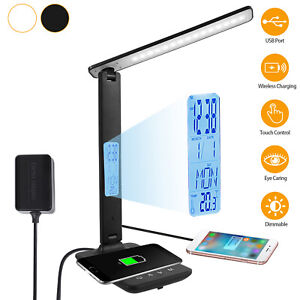 Dimmable LED Table Desk Lamp w/ Calendar 10W Wireless Charger USB Charging Port