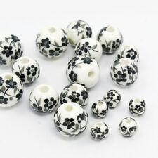 50 x Elegant White Round Handmade Printed Flower Porcelain Beads 6~12mm Hole 2mm