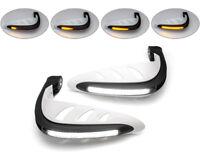 Motorbike Handguards LED with Indicators & Daytime Running Lights - WHITE - PAIR