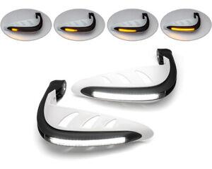 Moto Protège LED Avec Clignotants & Feux Diurnes - Blanc - Paire