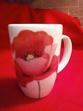 RB BERNARDA PORTUGAL Ceramic Mug, White w/Orange Poppy, excellent, no chips