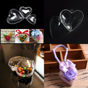 Clear Heart Baubles For Christmas Decoration Tree Ornament Drop Fillable DIY