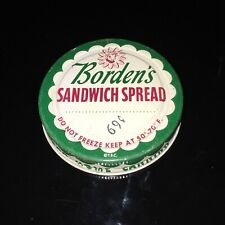 LARGE  VTG 1960's BORDEN'S Sandwich Spread Tin Glass Jar Lid Vibrant Color!