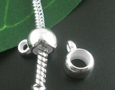 100Pcs Silver Plated Smooth Cup Bail European Beads Fit Snake Chain Bracelets