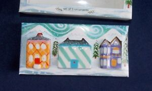 NEW Anthropologie Christmas Holiday Houses Glittered Town Ornament Set Ceramic