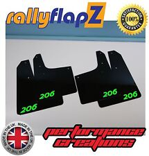 Parafanghi stile Rally PEUGEOT 206 rallyflapZ(3mm PVC) Logo Nero Verde